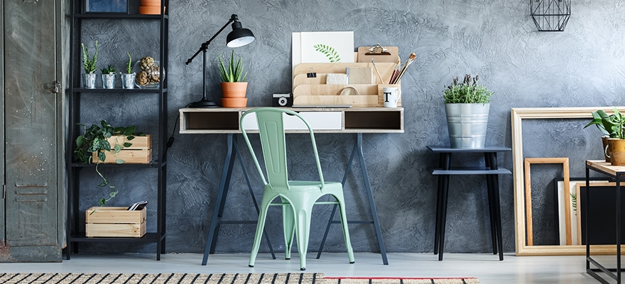 Loft Office With Vintage Decor For